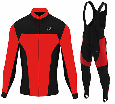 Mens Cycling Jersey Winter Thermal Biking Top & Cycling Pants Bib tights set