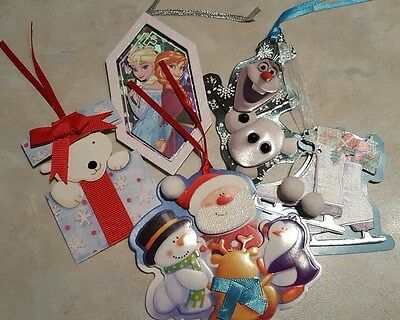 5 Christmas Luxury handmade Gift Tags - includes 2 Disney Frozen tags