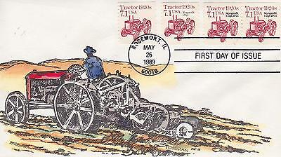 ALAN TOSSMAN HAND-PAINTED FDC FIRST DAY COVER-1989 TRACTOR 1920's ISSUE