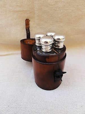 Great Vintage Leather Cased Flasks with Silver Tops 1910