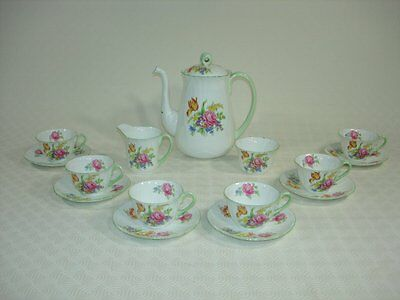 Shelley Floral Tea/Coffee set for Six with Teapot, Sugar Bowl and Milk Jug
