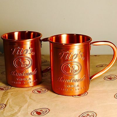 2 Tito's Vodka Copper Moscow Mule Mug Set New 2x