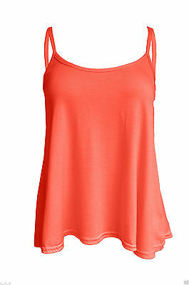 Womens Ladies Coral Cami Sleeveless Swing Vest Strappy Plain Flared Tank Top 28