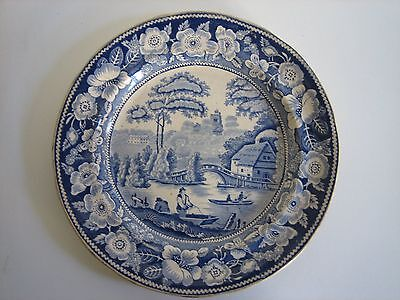 "Antique English Early Victorian Blue & White Plate In ""wild Rose"" Pattern"