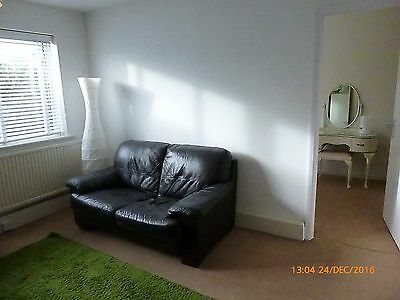2 Seater Black Leather Sofa.