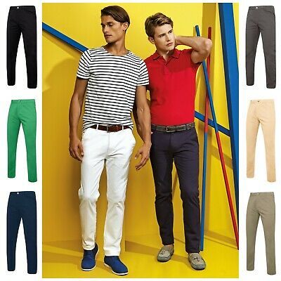 Mens Slim Fit Chinos Chino Jeans Pants Trousers Cotton Stretch Regular & Tall