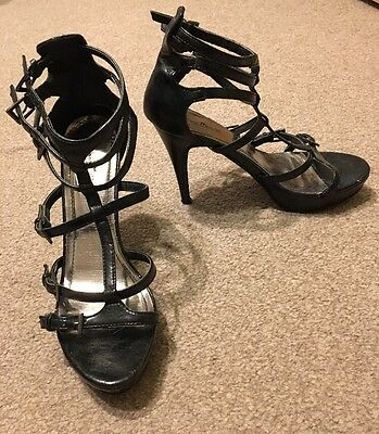 ❤️ BLACK VERY HIGH STRAPPY SANDALS Size 6