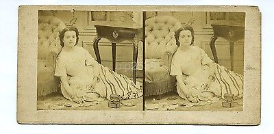 Woman Lying On A Floor With Playing Cards c1850s - Stereoview