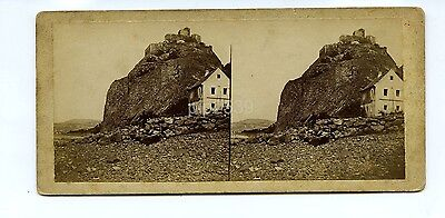 Early Stereoview Of Cliffs & House By Coast c1850