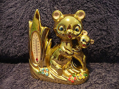Vintage Retro Kitsch Gold Bears Thermometer