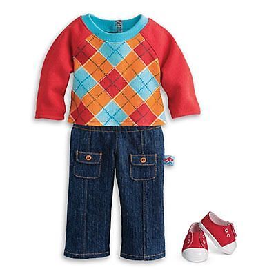 NEW American Girl Doll Bitty Baby Boy Argyle Outfit Sneakers Fast Free Shipping!
