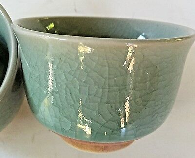 Antique Crackle Glazed Celadon Tea Cups set of 2 No Handles CHINESE