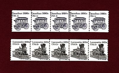 Transportation P# strips of 5: #1897 1c Omnibus and #1897A 2c Locomotive, MNH