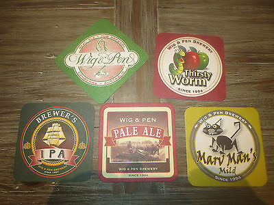 5 Different WIG & PEN Micro BREWERY, Canberra,A.C.T. Issues BEER COASTERS,