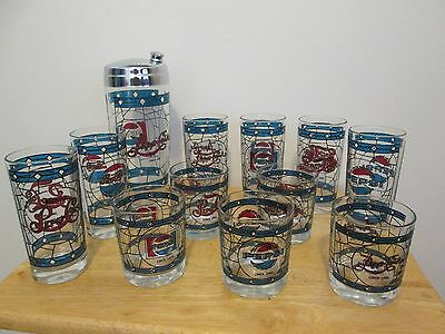 Pepsi Cola Stained Glass Cocktail Shaker & 11 Glasses 75th Anniversary