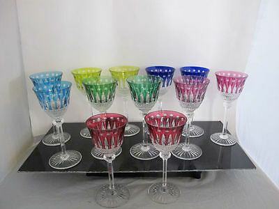 Crystal Multi-Color ST LOUIS 12pc TOMMY Pattern Wine Goblet Drinking Glass Set