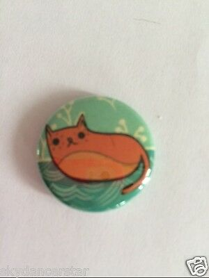Curled Cat Button Pin Donation Helps Feed Feral Cats Kittens Charity Rescue