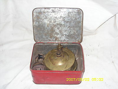 Vintage Solid Brass Portable Camping Touring Stove With Accessoriers In Red Tin.