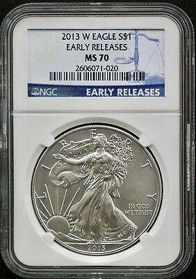 2013-W Burnished Silver American Eagle NGC MS 70 Early Releases-Excellent!