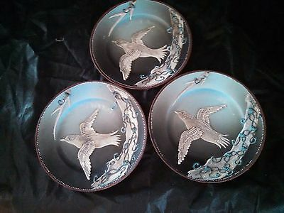 Nippon Hand Painted Pate-Sur-Pate Set of (3) Bird Plates...