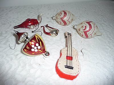Lot Of 6 Vintage Christmas Ornament --Lute  Indented Bird Hand Painted