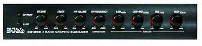 BOSS AUDIO EQ1208 4 Band Pre-Amp Equalizer with Remote Subwo