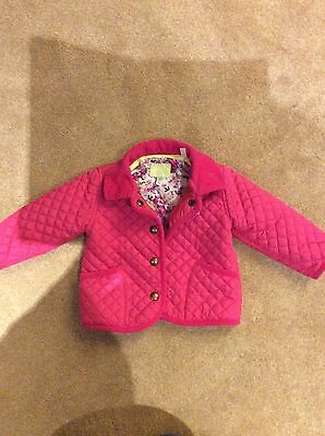 JOULES Pink Quilted Jacket/Coat Baby Girls 6-9 Months