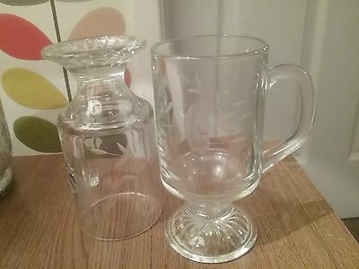 Pretty Etched Glass Handled Glasses