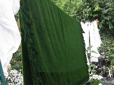 """Antique/vintage 80"""" X 70""""( + 4"""" Fringe) Green Chenille Tablecloth/throw"""