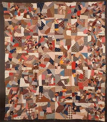 19Th Century Cotton Crazy Quilt Top, C. 1880, Really Great!