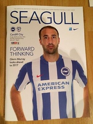 Brighton v Cardiff City Programme, 30th December 2016, MATCH POSTPONED