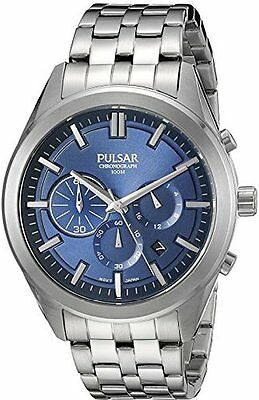 Pulsar Men's Chronograph Blue Dial Silver Watch PT3679