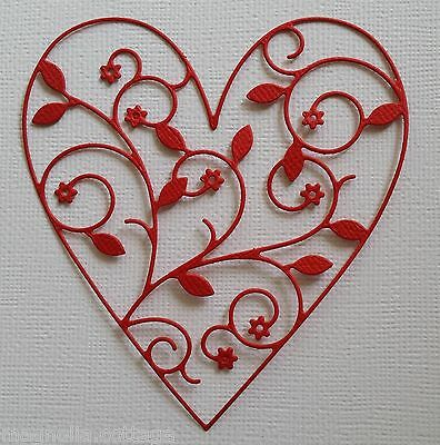 CHOICE OF COLOUR & CARD...4 x Vine Heart Die Cuts... Scrapbooking VALENTINES