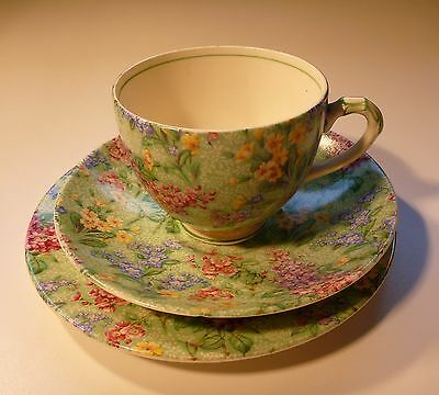 Lilac time empire teacup saucer and plate trio made in England