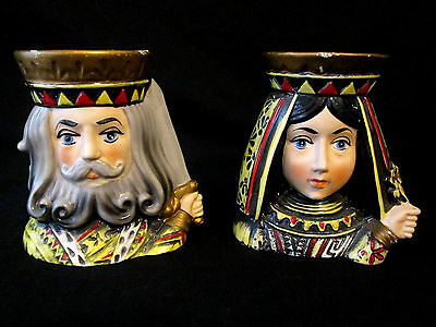 HTF Vintage Inarco Japan King & Queen Lady Head Vase Set