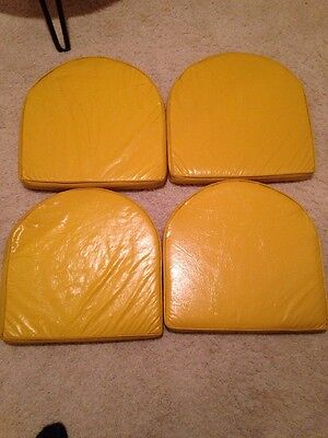 Vtg Mid Century Yellow Vinyl Seat Cushions Chair Pads Set of 4-Fits Tulip Chair!