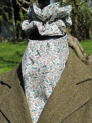 Ready Tied Ivory Green & Brown Small Paisley Design Cotton Stock & Scrunchie