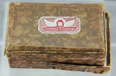 Antique Christmas Greetings Child's Sewing Kit Box