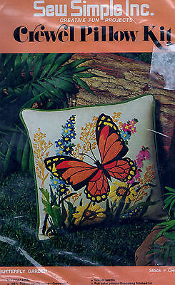 "Sew Simple Inc. Crewel Embroidery Kit Butterfly Garden 14 x 14"" NIP"