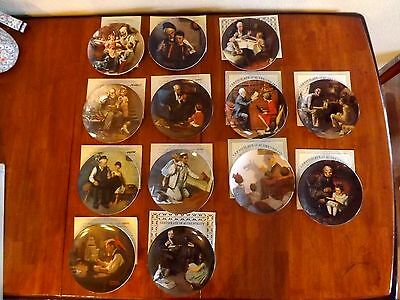 Lot of 13 Knowles NORMAN ROCKWELL Heritage Collection Plates w/COA's & Boxes
