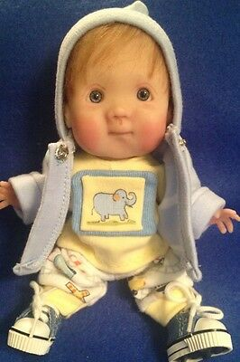 """Ooak Handmade Polymer Clay Baby Boy """"cory"""" 7"""" By Giggles & Grins"""