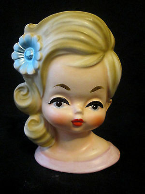 Rare Vintage Inarco Little Blonde Girl Head Vase with Blue Daisy E-3157