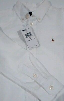 Polo RALPH LAUREN Boys Shirt Size 6 White Oxford Long Sleeve Cotton NWT NEW