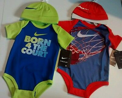 Nike 2sets bodysuit onepiece with hat new with tag 6-9M basketball