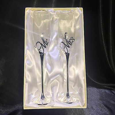 Mr And Mrs Wedding Champagne Toasting Glasses