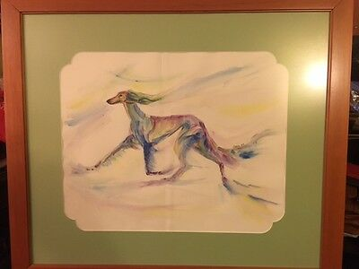 Beautiful Saluki Dog Watercolor Print by Cobra Framed and Matted