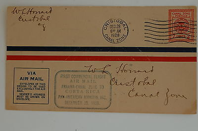 Canal Zone First Flight Cover 1928 to Costa Rica
