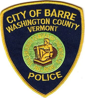 Barre City Police Washington County Police Patch Vermont VT NEW