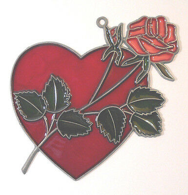 Stained Glass Heart with Rose SUNCATCHER Valentine's Day window art