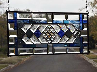 """•HEAVENLY•Beveled Stained Glass Window Panel • 28 1/2""""-12 1/2"""""""